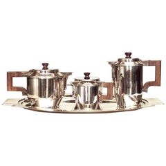 French Art Deco Silver Plated Five-Piece Tea Set
