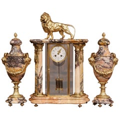 Important 19th Century French Marble and Bronze Mantel Clock with Cassolettes
