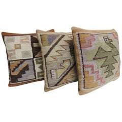 Petite Vintage Woven South American Woven Kilim Decorative Pillows