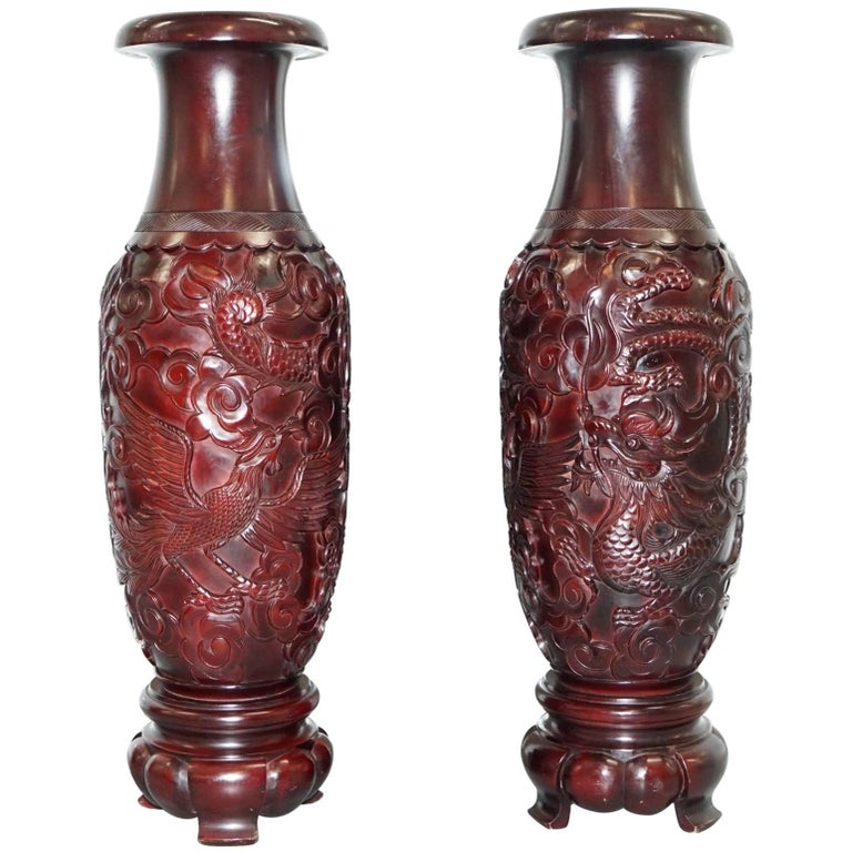 Pair Of Huge Chinese Hand Carved Wood Cinnabar Dragon And Bird Vases