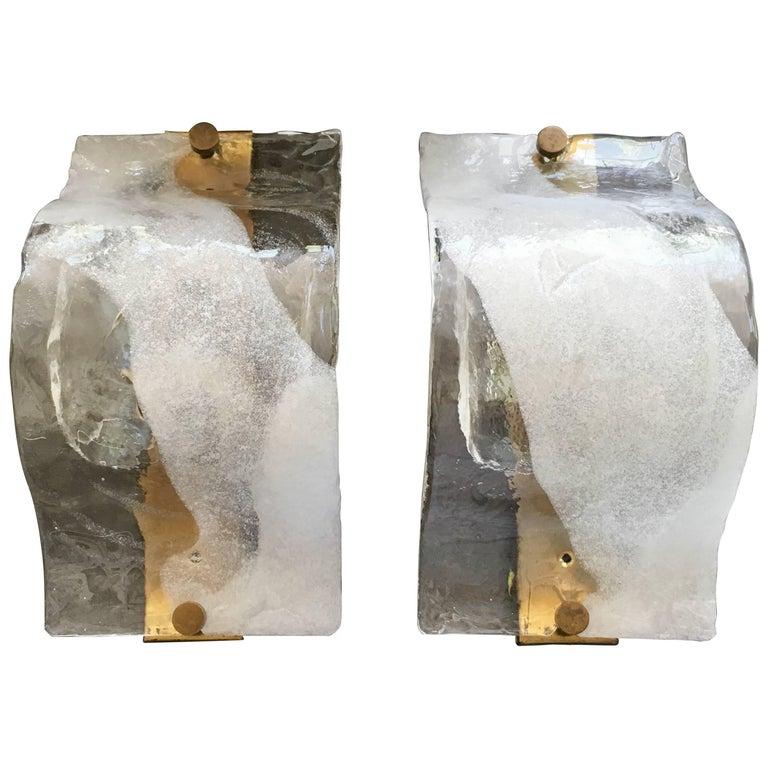 Murano Glass Sconces Designed by Carlo Nason for Mazzega, Italy, 1960s