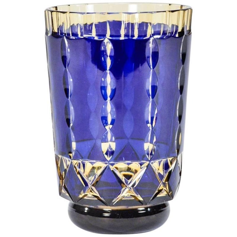 Val St. Lambert Art Deco Handblown Two-Color Cobalt Blue Cut to Topaz Vase