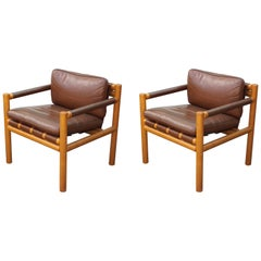 Pair of Modern Scandinavian / Danish Oak and Brown Leather Safari Lounge Chairs