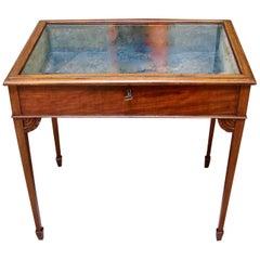Edwardian Mahogany Hepplewhite Style Table Vitrine
