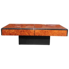 Modern Willy Rizzo Style Burl Wood and Mirrored Sliding Bar Coffee Table