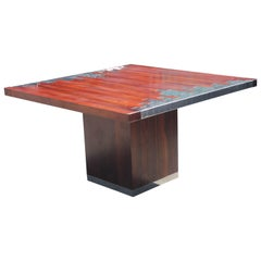 Modern Italian Rosewood Square Pedestal Dining Table with Geometric Chrome Inlay