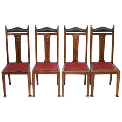 Set of Four Liberty's London Arts & Crafts Dining Room Chairs Archibald Knox