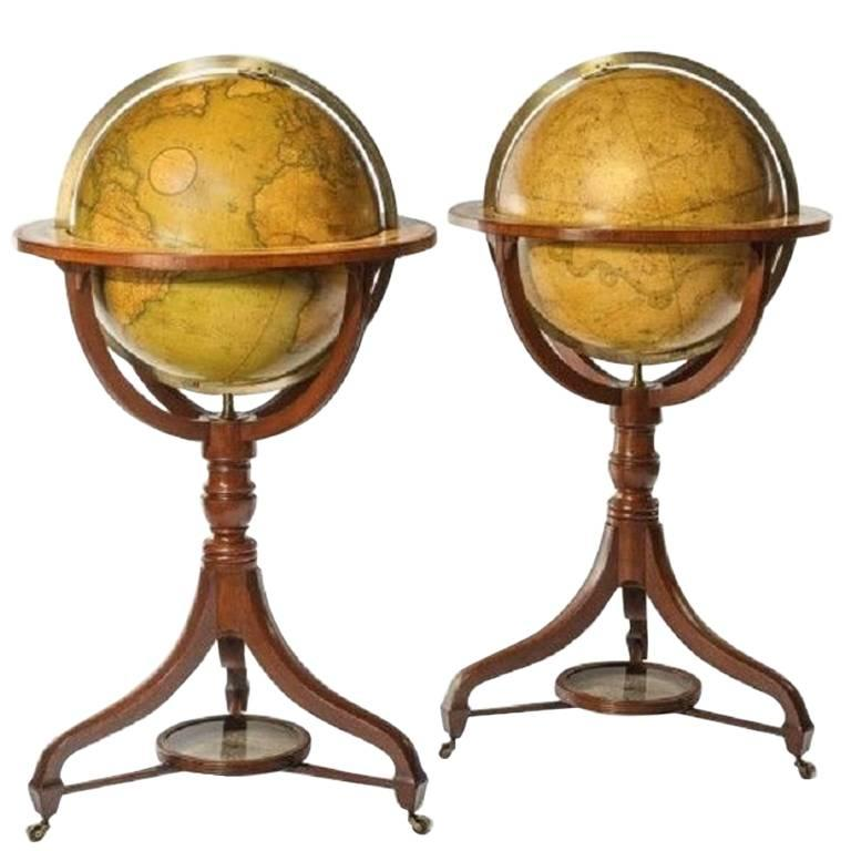 Globes For Sale >> Fine Pair Of Cary S Floor Standing Library Globes