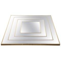 Op Art Square Brass Framed Mirror