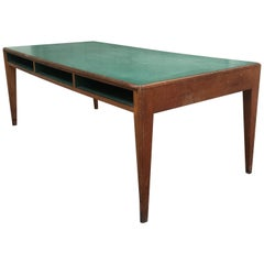 Italian Oak and Formica Boarding School Counter Table from 1960s