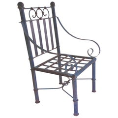 19th Century Blue Metal American Garden Chair