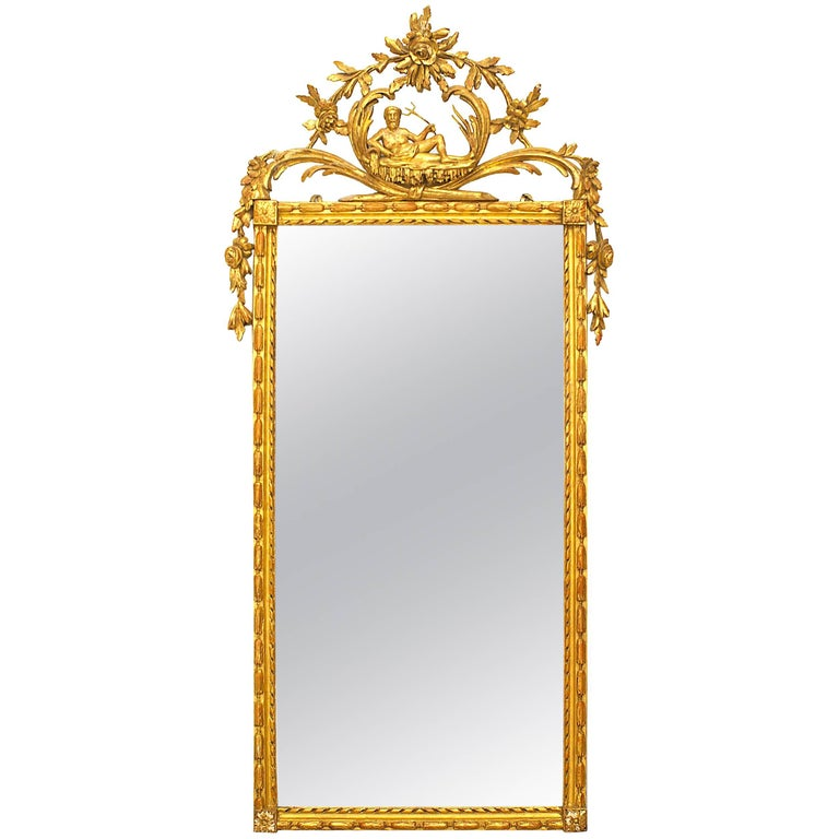 Italian Neoclassic Carved Giltwood Vertical Mirror 'Late 18th Century'
