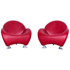 Leolux Papageno Designer Leather Chair Set Red One-Seat Lounge Modern