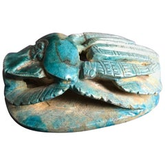 Egyptian Turquoise Faience Heart Scarab Amulet
