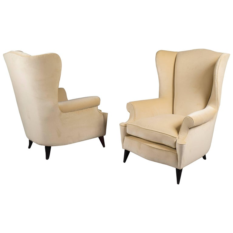 Pair of Wingback Armchairs, Italy, 1950s For Sale