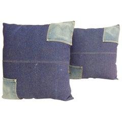 Pair of Vintage Pocket Indigo Denim Decorative Square Pillows