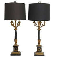 Pair of French Empire Neoclassical Candelabra Table Lamps