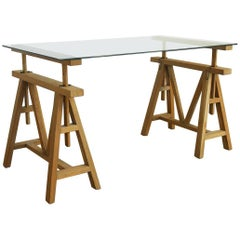 Midcentury Adjustable Height French Oak Sawhorse Desk