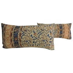 Pair of Vintage Indian Hand-Blocked Decorative Bolster Throw Pillows