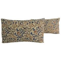 Pair of Vintage Indian Hand-Blocked Decorative Lumbar Throw Pillows