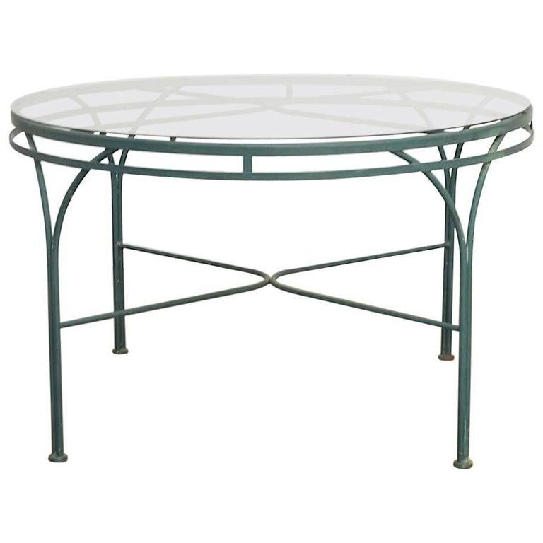 Midcentury Round Aluminium Garden or Dining Table