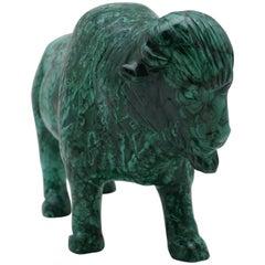 Large Carved Malachite Water Buffalo