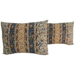 Pair of Vintage Indian Hand-Blocked Decorative Bolster Pillows