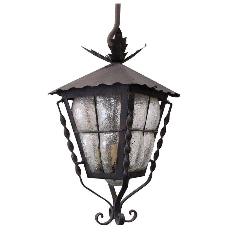 Black Vintage Bubble Glass Lantern