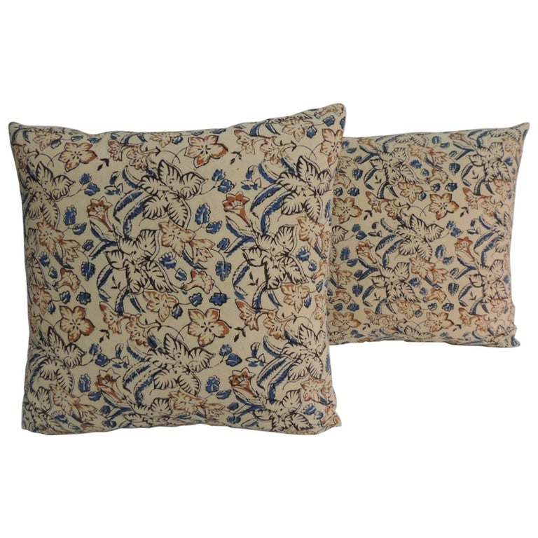 Pair of Vintage Indian Hand-Blocked Decorative Square Throw Pillows