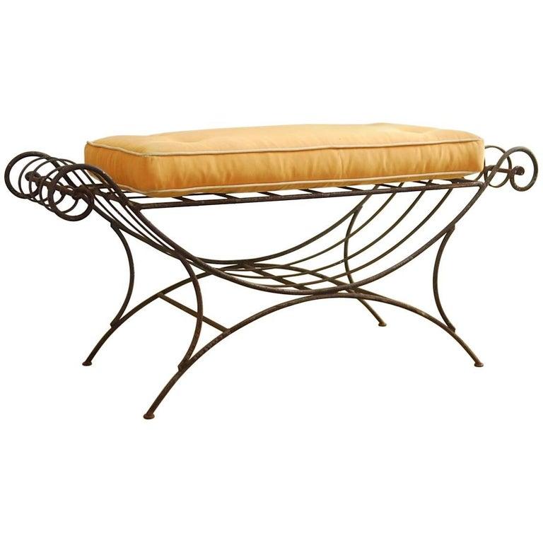 Midcentury Italian Wrought Iron Curule Bench