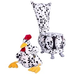 Bretz Designer Chair in White Dalmatiner Patterned Fabric with Chicken Pillow