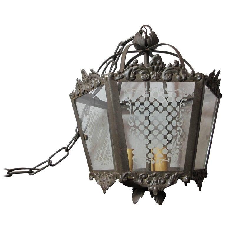 Etched Glass Vintage Lantern