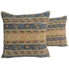 Pair of Vintage Indian Hand-Blocked Artisanal Textile Decorative Square Pillows