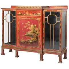 Red Lacquered Chinoiserie Breakfront Low Cabinet by Hille, England, circa 1920