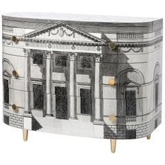 """Barnaba Fornasetti Curved """"Palladiana"""" Commode with Three Drawers, Italy, 2017"""
