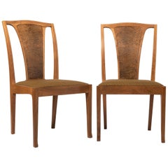 Pair of English Walnut Chairs by Edward Barnsley, England, circa 1969
