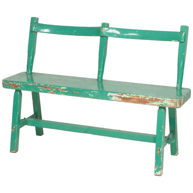 French Turquoise Painted Armless Rustic Bench