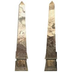 Pair of Monumental Mid-Century Modern Marble Veneered Obelisks