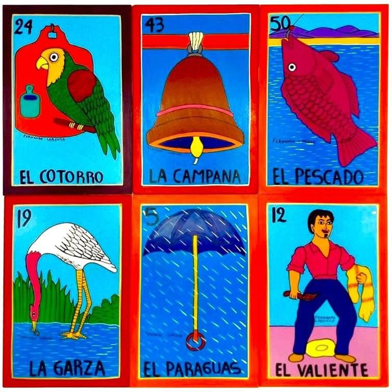 Familia Lorenzo, Hand-Painted Wood, Mexican Loteria For Sale