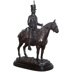 Large Bronze John Skeaping French Cavalry Hussar Riding a Horse Death Cap Statue