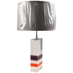 1970s French Modern Multi Color Lucite Acrylic Table Lamp
