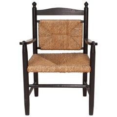 Black Stained Exposed Frame Armed Side Chair with Rush Seat and Back