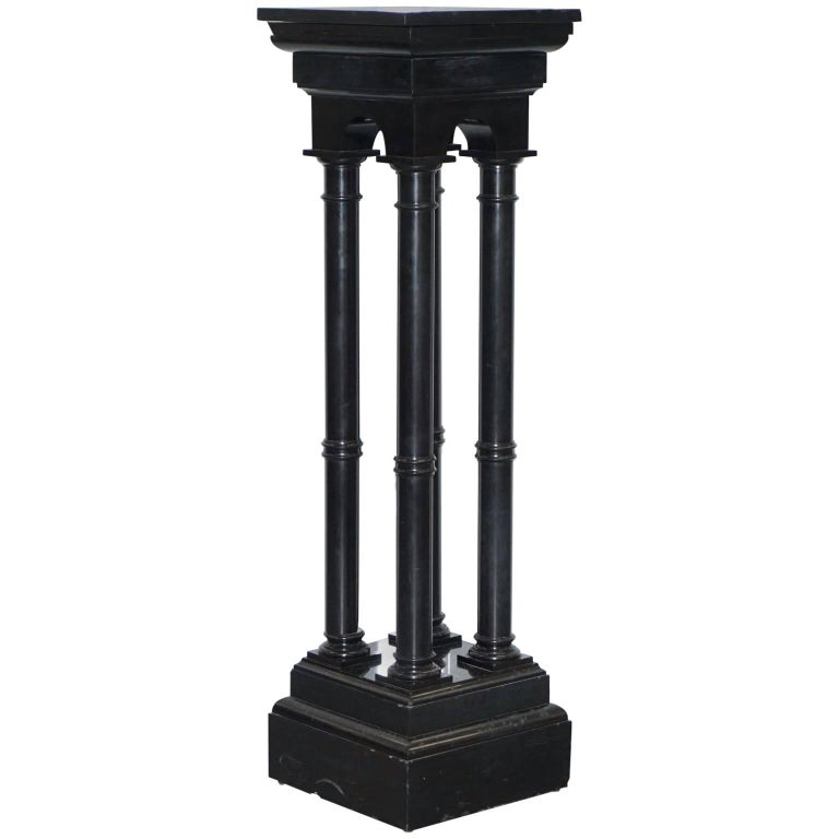 Rare Black Marble Four Pillar Column Stand with Rotating Top for Busts Statues For Sale