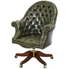 Bevan Funnell Directors Green Leather Chesterfield Captains Chair
