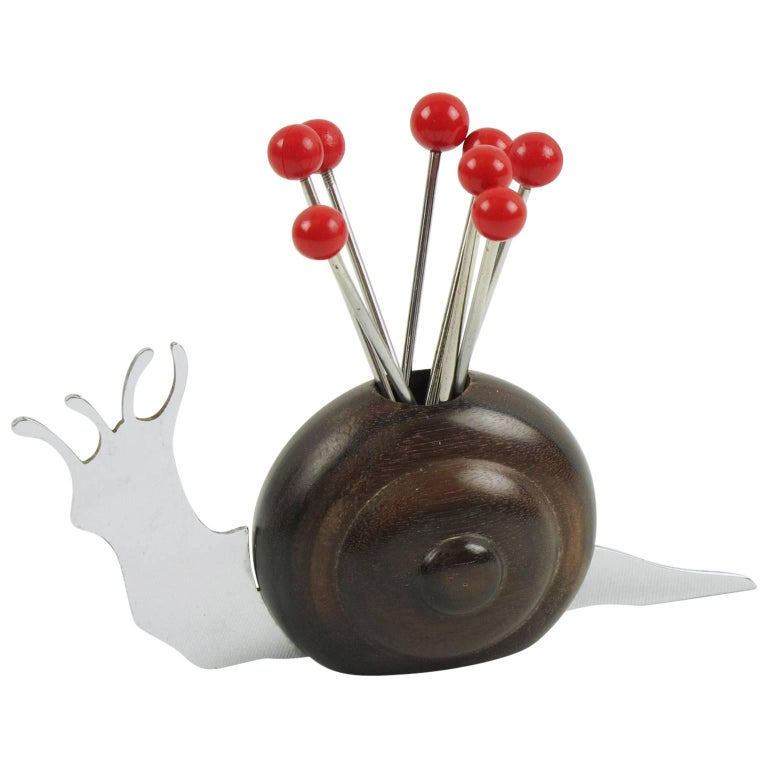French Art Deco Barware Macassar and Chrome Carved Snail Cocktail Picks