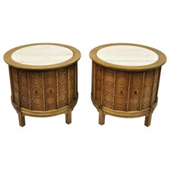 Pair of Thomasville Travertine Top Mid-Century Modern Round Commode End Tables