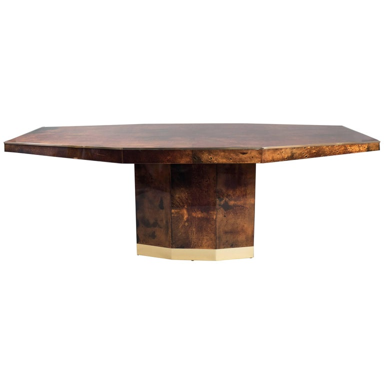 Lacquered Goatskin Dining Table by Aldo Tura, Italy, 1960s