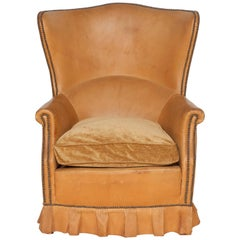French Winged Leather Club Chair with Boxed Pleated Skirt