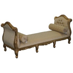 Large 3-4 Seat Victorian Gold Leaf Painted French Daybed or Chaise Longue
