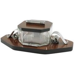 Louis Prodhon French Art Deco Modernist Rosewood Crystal Serving Jar Box